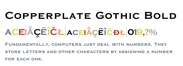 Download free Copperplate Gothic Bold Regular font