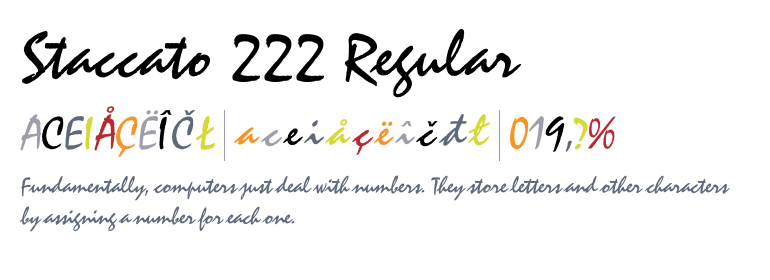 staccato 222 font