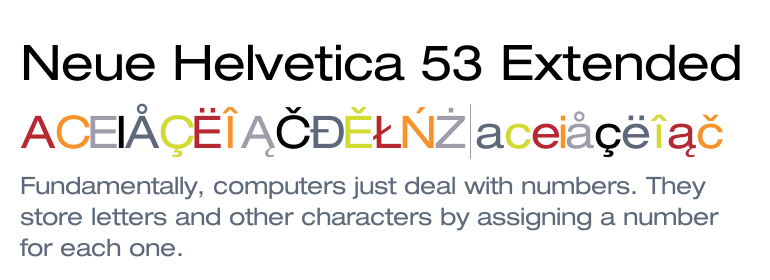 Neue Helvetica® 53 Extended - Fonts com