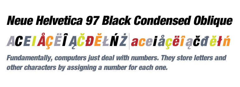 Neue Helvetica® 97 Condensed Black Oblique - Fonts com