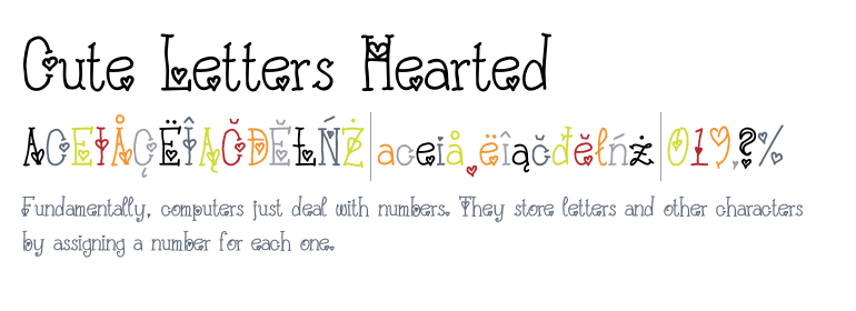 cute letters hearted