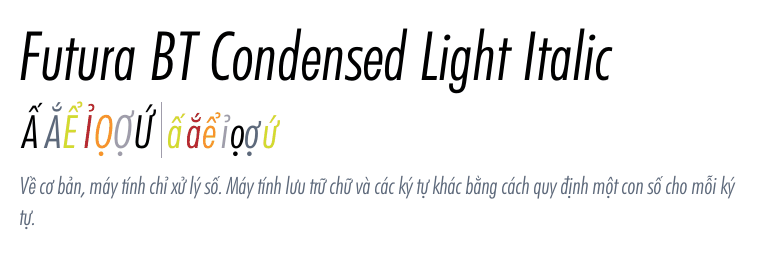 Futura® BT Condensed Light Italic - Fonts com