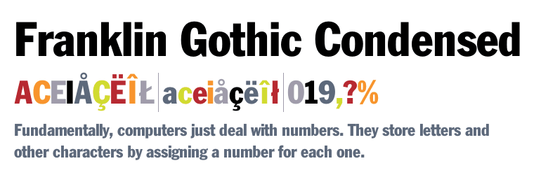 franklin gothic condensed for mac
