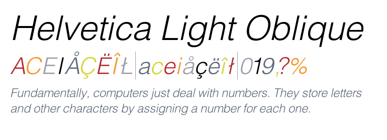 Helvetica® Light Oblique - Fonts com