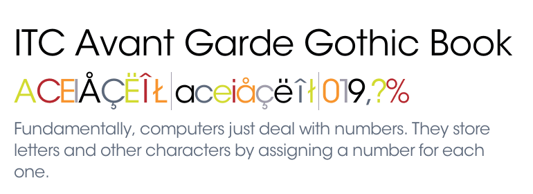 Itc Avant Garde Gothic Book Font