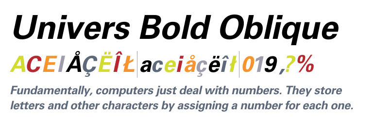 Univers Condensed Bold font