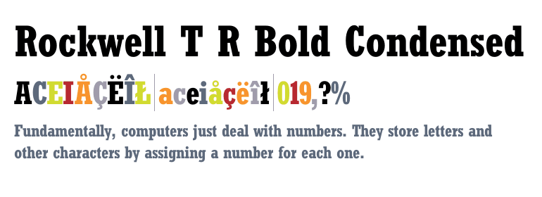 Rockwell bold condensed premium font buy and download.