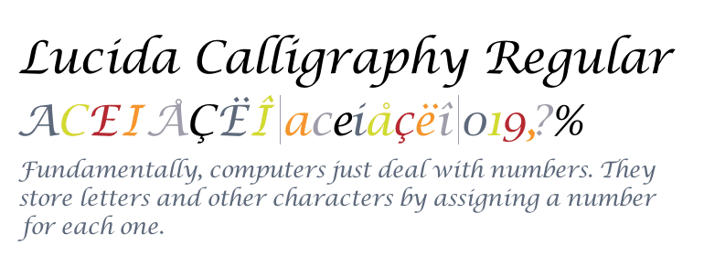 Lucida calligraphy regular fonts